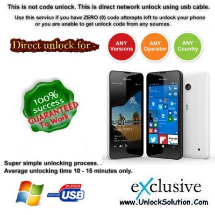 LUMIA 550 INSTANT DIRECT UNLOCK USING USB CABLE