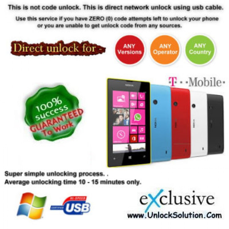 Lumia 521 INSTANT DIRECT UNLOCK USING USB CABLE