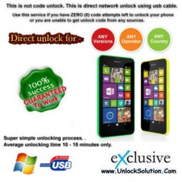 Lumia 630 INSTANT DIRECT UNLOCK USING USB CABLE.